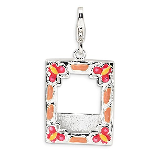 Enameled Picture Frame Pendant - ICE CARATS 925 Sterling Silver 3 D Enameled Photo Frame Lobster Clasp Pendant Charm Necklace Fine Jewelry Ideal Gifts For Women Gift Set From Heart