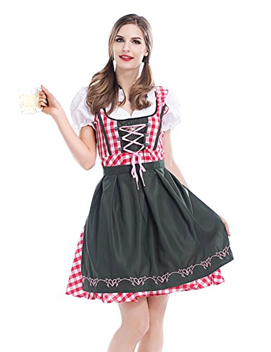 Colorful House Womens Oktoberfest Beer Maid Fancy Dress Costume (Size XL, Red) -
