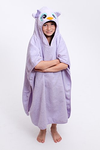 "30"" x 30"" Large Owl Velour Poncho Hooded Towel, Purple, F..."