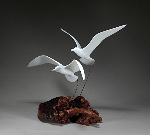 Duo Sculpture (Seagull Duo Sculpture by John Perry 16in High Statue Decor on Burl)