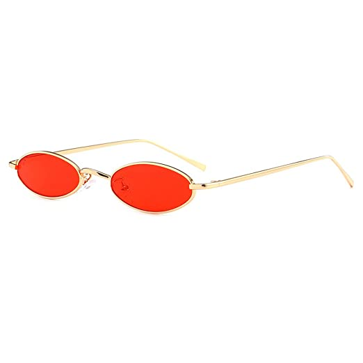 Amazon.com: OULII Vintage Oval Sunglasses with Slim Metal ...
