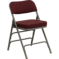 Flash Furniture HERCULES Series Premium Curved Triple Braced & Double Hinged Burgundy Fabric Metal Folding Chair