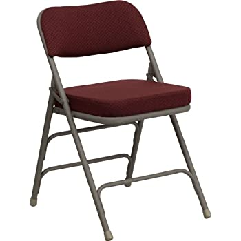 Flash Furniture HERCULES Series Premium Curved Triple Braced U0026 Double  Hinged Burgundy Fabric Metal Folding Chair