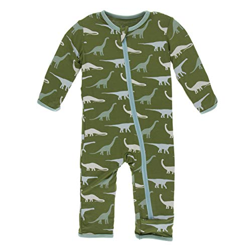 Kickee Pants Little Boys Print Coverall with Zipper - Moss Sauropods, 4T