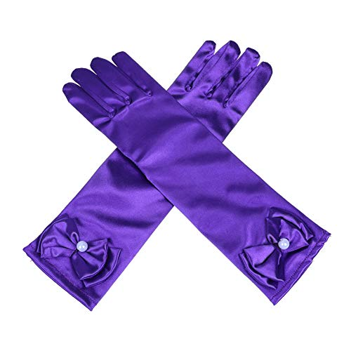 Lusiyu Girl Solid Color Long Elbow Length Formal Pageant Glove (Purple)