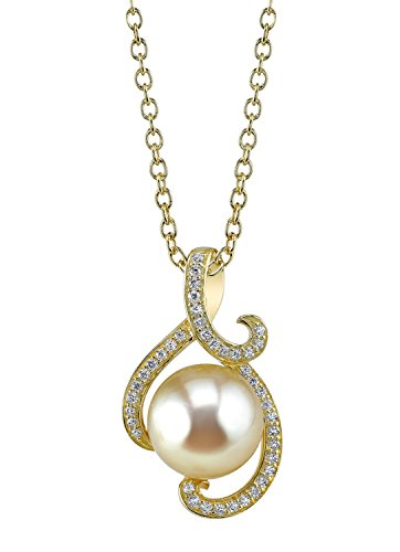 THE PEARL SOURCE 10-11mm Golden South Sea Cultured Pearl & Cubic Zirconia Signature Pendant Necklace for ()