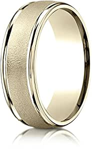 Benchmark 18k Yellow Gold 7mm Comfort-Fit Wired-Finished High Polished Round Edge Carved Des. Band,Sz 11.25