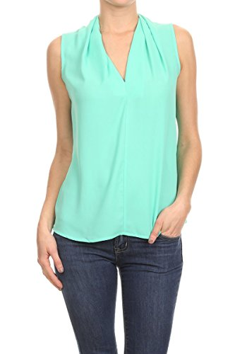 Blouse Mint - ReneeC. Women's Solid V Neck Sleeveless Office Tank Blouse Top - Made In USA (X-Large, Dark Mint)