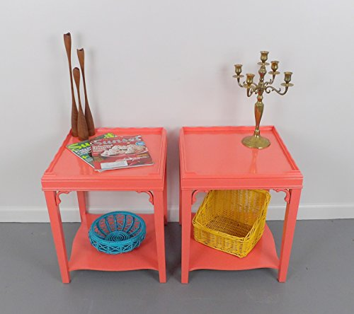 End Tables Night Stands Mid Century Coral Pink Set