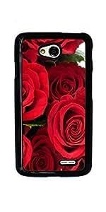 Rose Red Pink Flower Hard Case for LG Optimus L70 ( Sugar Skull )