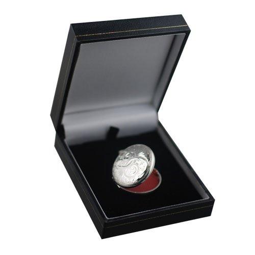 Médaillon à loquet 29mm rond en argent, gravé à la main