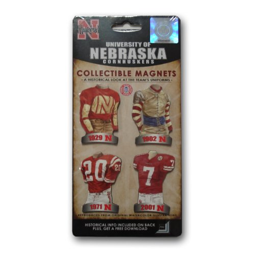 Uniform University Set Small - NCAA University of Nebraska Uniform Magnet Set (Pack of 4)
