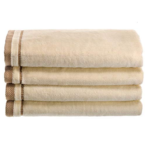 Creative Scents Cotton Velour Fingertip Towel - 4 Piece Set, 11 by 18-Inch, Cream with Embroidered Brown Trim ()