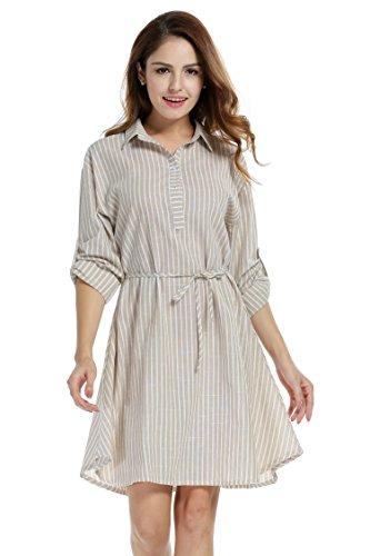 Linen Striped Dress - 3