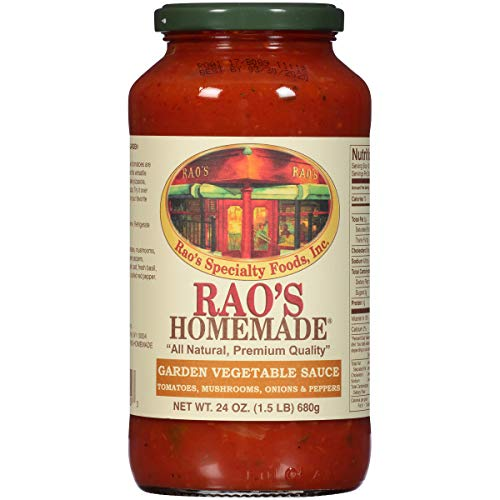 Rao's Homemade Garden Vegetable Sauce, 24 Oz Jar, Pack of 3, Classic Italian Tomato Sauce with Mushrooms, Peppers, and Onions, Vegetarian Sauce, Great on Pasta and Polenta, No Sugar Added