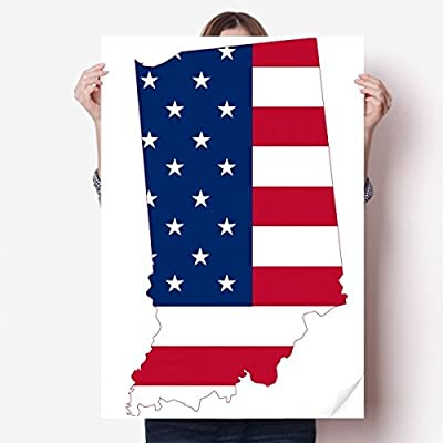 DIYthinker Illinois USA Map Stars Stripes Flag Shape Vinyl Wall Sticker Poster Mural Wallpaper Room Decal 80X55cm