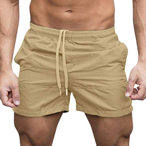 Men Gym Shorts, JOYFEEL Casual Quick Dry Bodybuilding Beach Shorts Running Workout Training Active Sport Shorts Khaki