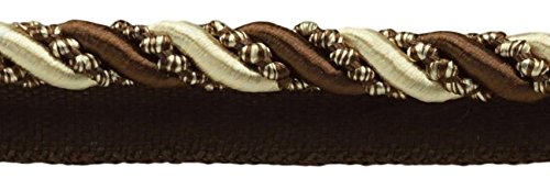 DÉCOPRO 27 Yard Value Pack of Large 7/16 inch Dark Brown, Sand, Noblesse Collection Lip Cord Style# 0716H Color: Espresso Latte - D2A2 (25 Meters / 81 Ft.) by DÉCOPRO