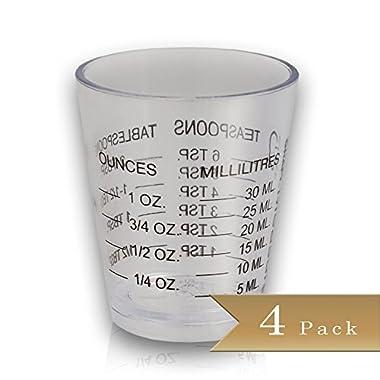 Pack of 4 - Bar Mini Measurer - Plastic Shot Glasses - 1 Oz - 6 Tsp - 2 Tbs - 30 ml
