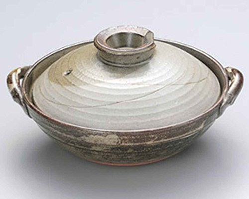 Kyoto-Iori for 6-8 persons 14.4inch Donabe Japanese Hot pot Grey Ceramic Made in Japan by Watou.asia