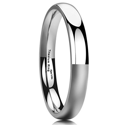 King Will BASIC 3MM Titanium Ring Domed High Polished Comfort Fit Wedding Engagement Band For Men Women 7