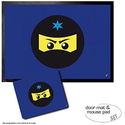 1art1 Gaming, Icono Ninja, Azul Felpudo Alfombra (70x50 cm) + ...