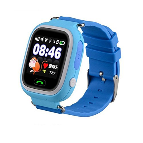 Life-Tandy GPS/GSM/GPRS Triple Positioning GPRS Tracker Watch for Kids Children Smart Watch with SOS Support GSM phone Android IOS Anti Lost (Q90 Bule)