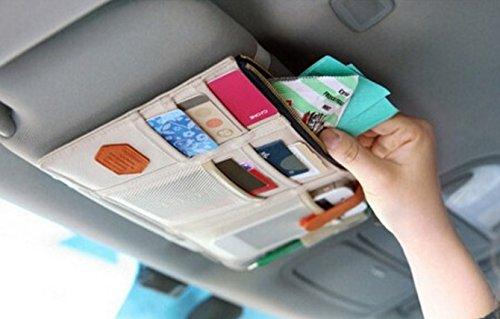 TrueLine Multi-purpose Auto Car Sun Visor Organizer Card Storage Holder Phone holder (Beige) (2005 Hyundai Sonata Sun Visor compare prices)