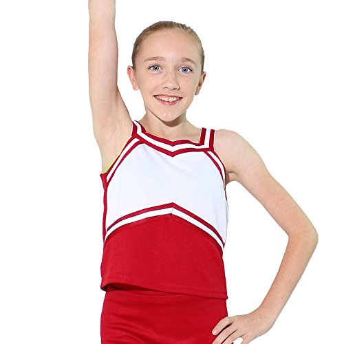 Danzcue Girls Sweetheart Cheerleaders Uniform Shell Top, Scarlet-White, Large ()