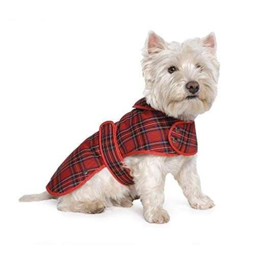Muddy Paws Highland Tartan Coat Red Medium