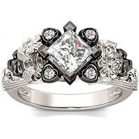Women Men Vintage Heart Skulls 925 Silver White Topaz Wedding Ring Size 6-10#by pimchanok shop (10, White Topaz)