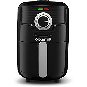 Gourmia GAF355 Compact Hot Air Fryer - Adjustable 30 Minute Timer and 400° Temperature Dials - Removable Basket - No Oil Fat Free Healthy Frying - 2.2 Qt - 1000W - Black - Bonus Cookbook Included