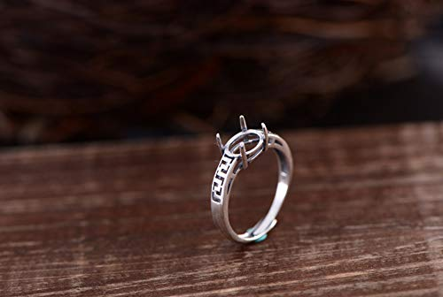 Ring Blank (6.5x9mm Oval Blank) Adjustable Thai Sterling Silver Ring Base Antique Style Small Size Oval Cabochon Ring Setting R416B