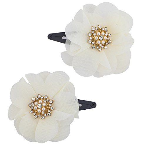 Lux Accessories Goldtone imitation Pearl and Faux Ivory Chiffon Floral Flower Clips Set 2pcs ()