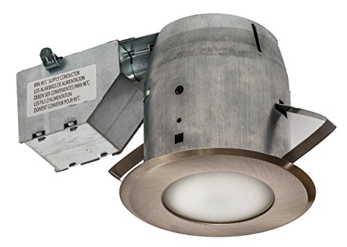 Shower Recessed Light - Nadair GU378L-FROBN 4in Shower Recessed Lighting Dimmable LED Downlight Bathroom Spotlights - IC Rated - GU10 550 Lumens Bulb (50 Watts Equivalent) Included, Brushed Nickel