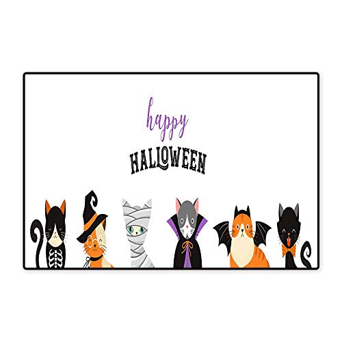 Bath Mats for floorsHappy Halloween Cats in Monsters Costumes Halloween Party Vector Illustration Banner Elements Set W19.68 xL31.49 ()