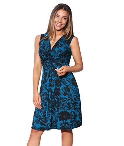 Krisp 6309-TEA-10 Women's Knot Dress, US 6, Teal