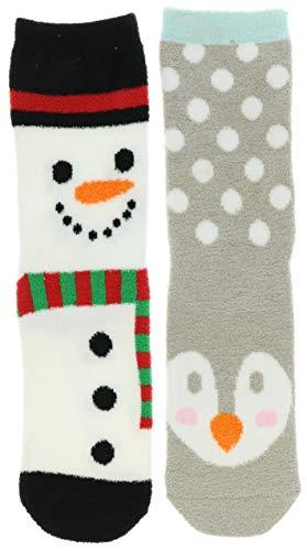 (Gold Medal Women's Christmas Fuzzy Slipper Socks (2Pr) (Snowman & Penguin) )