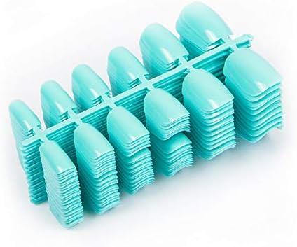 LANGMAN Uñas Postizas 600 Unids/Pack Uñas Postizas De Acrílico Color Azul Cielo Puntas De Uñas Decoración De Cubierta Completa Consejos De Arte De Uñas Falsas Cortas: Amazon.es: Belleza
