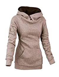Alion Womens Fashion Long Sleeve Tunic High Neck Sweatshirt Hoodie With Pocket