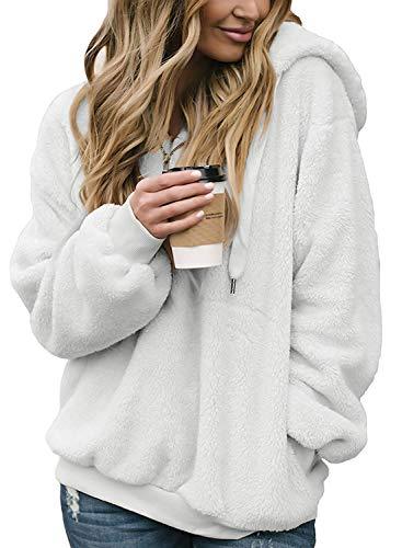 SENSERISE Womens 1/4 Zip Sherpa Fleece Pullover Winter Jacket Outwear Sweaters(White,Small) ()