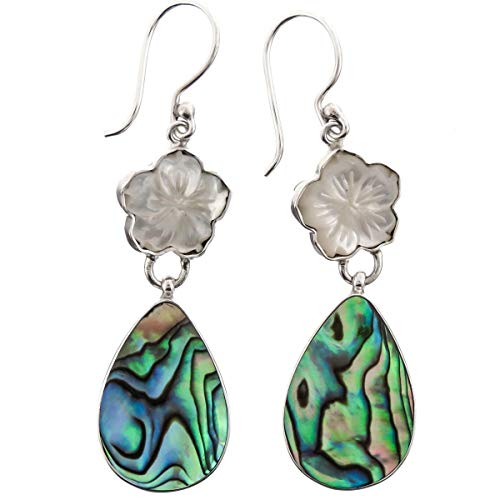 - 1 5/8'' Flower Mother of Pearl Shell PAUA Abalone 925 Sterling Silver Earring YE-1536