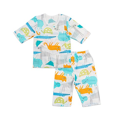 MiNiK Toddler Kids Boys Girls Cotton Pajama Set 3/4 Sleeve Hippo Friend ()