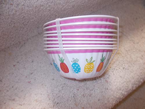 """Cynthia Rowley Set of 8 Small Bowls""""Colorful Pineapples"""""""