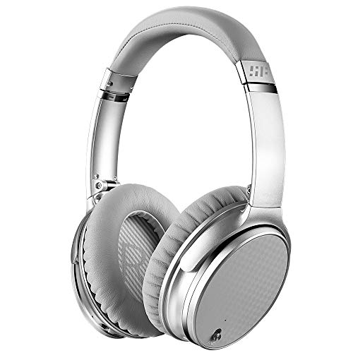Active Noise Cancelling Headphones, Siroflo S11 Plus Wireless Headset, Bluetooth Wired ANC Noise Cancelling Over Ear with Mic Protein Earpads Carry Case, 16 Hrs Playtime for Travel PC/Phones/TV Silver
