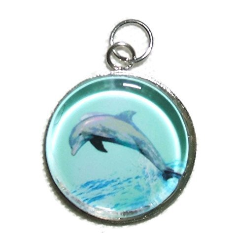Jumping Dolphin Dangle - JUMPING DOLPHIN Charm Pendant Silver Pltd GLASS Covered
