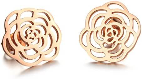 Women's Earrings Rose Gold Plating Camellia Titanium Steel Earrings Stud Earrings in a Gift Box