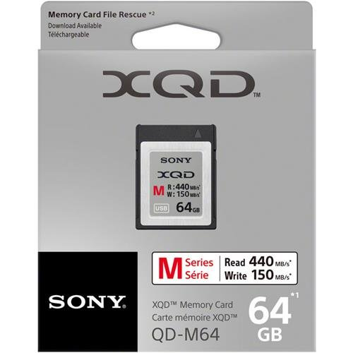 Sony 64GB XQD Memory Card M Series (up to 440MB/s Read) w/File Rescue Software