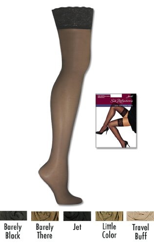 Hanes Silk Reflections Lace-Top Thigh-Highs, Travel Buff, AB