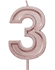 LUTER 2.76 Inches Large Birthday Candles Glitter Birthday Cake Candles Number Candles Cake Topper Decoration for Wedding Party Kids Adults